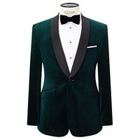 John Lewis Contrast Shawl Lapel Velvet Tailored Dinner Jacket Emerald