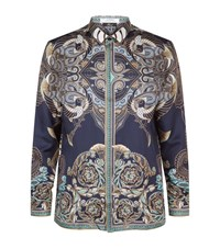 Versace Collection Printed Silk Shirt Male Blue