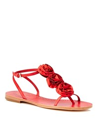 Kate Spade New York Caryl Flower Thong Sandals Maraschino Red