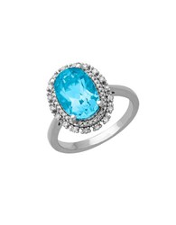 Lord And Taylor Blue Topaz Diamond Sterling Silver Ring 0.23 Tcw Aquamarine