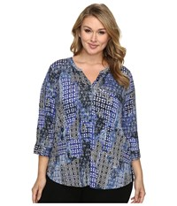 Nydj Plus Size 3 4 Sleeve Knit Henley Top Antique Wallpaper Women's Clothing Multi