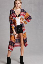 Forever 21 I The Wild Floral Ornate Kimono Navy Red