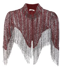 Ganni Humphrey Beaded Shawl Red