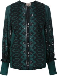 Sea Paisley Print Open Lace Blouse Green