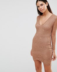 Ax Paris Long Sleeve Lace Dress With V Front Camel Brown