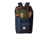 Herschel Little America Navy Woodland Camo Navy Rubber Straps Red Insert Backpack Bags Blue