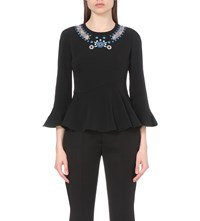 Peter Pilotto Embroidered Crepe Top Black