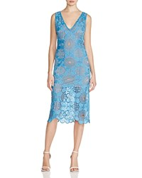 Tracy Reese Embroidered Lace V Neck Dress Casual Blue