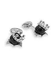 Jan Leslie Sterling Silver And Onyx King's Crown Cuff Links No Color