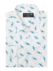 New And Lingwood Everlast Dragonfly Print Shirt White