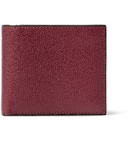Valextra Pebble Grain Leather Billfold Wallet Burgundy