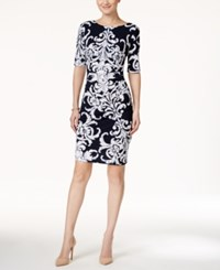 Connected Short Sleeve Printed Sheath Dress Navy White
