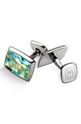 Men's M Clip Abalone Cuff Links Stainless Steel Green