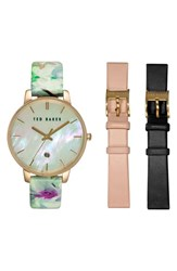 Women's Ted Baker London Round Dial Leather Strap Watch Set 40Mm