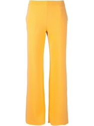 Cedric Charlier Cedric Charlier Wide Leg Knit Trousers Yellow And Orange