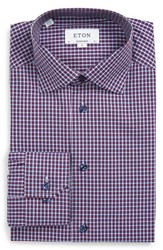 Eton Men's Contemporary Fit Check Dress Shirt Red