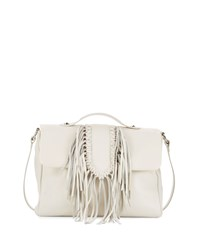 Sam Edelman Michelle Leather Fringe Satchel Bag Ivory