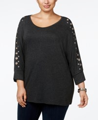 Belldini Plus Size Grommeted Dolman Sleeve Tunic Top Heather Charcoal Silver