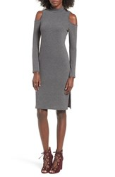 One Clothing Women's Cold Shoulder Midi Dress Charcoal