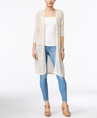 Jm Collection Three Quarter Sleeve Duster Cardigan Only At Macy's Flax
