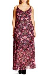 City Chic Plus Size Women's 'Dream Weaver' Belted Print Maxi Dress