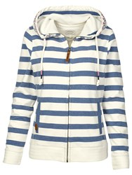 Fat Face Reef Striped Zip Hoodie Chambray