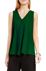 Vince Camuto Women's Drape Front V Neck Sleeveless Blouse Fire Glow