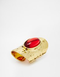 Designsix Armour Ring With Stone Gold