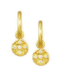 19K Gold Diamond Disc Earring Pendants Elizabeth Locke