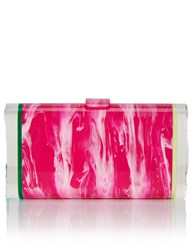 Edie Parker Pink Marbled Acrylic Laura Clutch