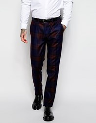 Sisley Tartan Suit Trousers In Slim Fit Navy