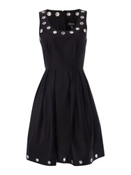 Episode Sleeveless Fit And Flare Dress With Silver Eyelets Black