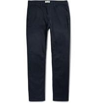 Nn.07 Marco Slim Fit Stretch Cotton Twill Trousers Navy