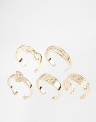Asos Limited Edition Adjustable Mix Toe Ring Pack Gold