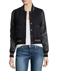 Rachel Zoe Faux Leather Sleeve Baseball Jacket Black