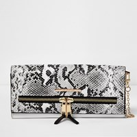 River Island Womens White Snake Print Multifunctional Purse