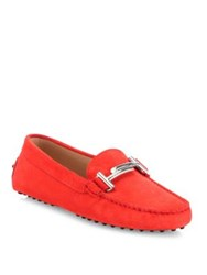 Tod's Gommini Maxi Nubuck Leather Drivers Red