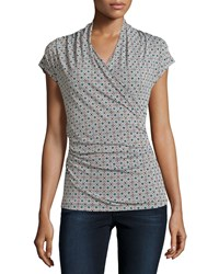 Laundry By Shelli Segal Cap Sleeve Printed Draped Top Moroccan Blue