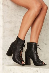 Eeight Teal Embossed Leather Bootie Black