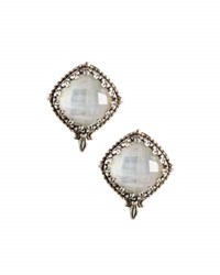 Konstantino Aura Crystal And Mother Of Pearl Button Earrings White