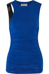 Bailey 44 Faux Leather Trimmed Ruched Jersey Top Blue