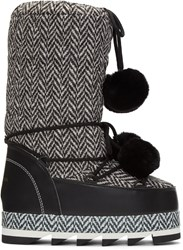Dolce And Gabbana Black White Fur Pom Pom Moon Boots