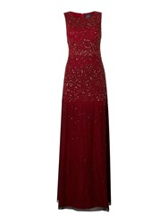 Adrianna Papell Sleevless Ombre Sequin Dress Cranberry