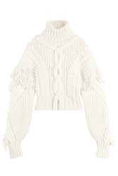 Off White Virgin Wool Turtleneck Pullover With Fringing