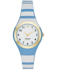 Kate Spade New York Women's Rumsey Blue And White Silicone Strap Watch 30Mm Ksw1088 Gold