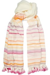 Janavi Tasseled Striped Merino Wool Scarf Cream