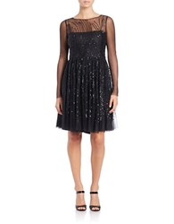 Vera Wang Sequin Fit And Flare Dress Black