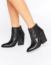 Selected Femme Tania Black Leather Heeled Ankle Boots Black
