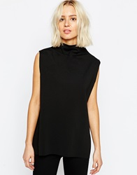Weekday Clean Edge High Neck Sleeveless Top Black