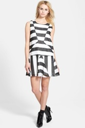 J.O.A. Sleeveless Stripe Dress Juniors Black